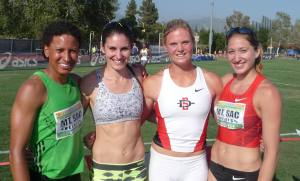 With Canadian gals after the Los Angeles Heptathlon and my PB of 5789 points.